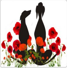 Aufkleber Galgopaar mit Blumen