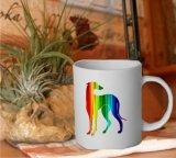 Tasse Motiv Galgo in Regenbogenfarben
