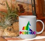 Tasse Motiv Podenco in Regenbogenfarben