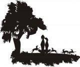 Wandtattoo - Galgos mit Welpen unter einem Baum